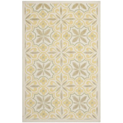 Floral Yellow/Beige Area Rug Rug Size: 4 x 6