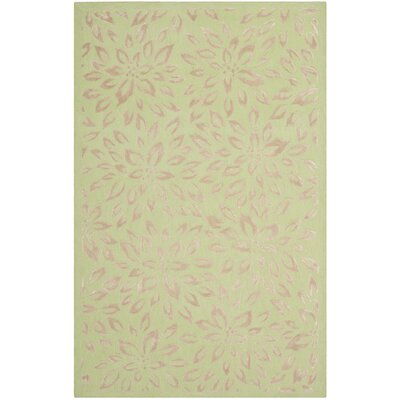 Green/Taupe Floral Area Rug Rug Size: Rectangle 4 x 6