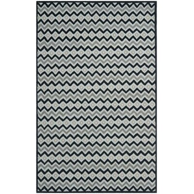 Grey/Black Geometric Area Rug Rug Size: 5 x 8