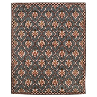Navy/Rust Geometric Rug Rug Size: Rectangle 4 x 6