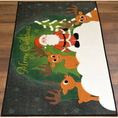 Santa Clauss Reindeers Christmas Mat