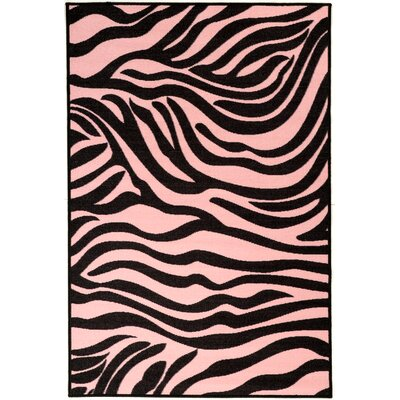 Pink Black Animal Print Zebra Area Rug Rug Size: 33 x 5