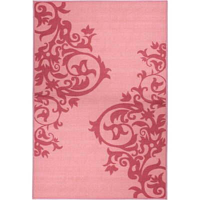 Pink Contemporary Scrolls Area Rug Rug Size: 33 x 5