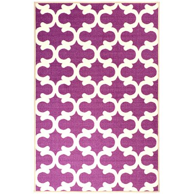Pink Contemporary Purple Moroccan Trellis Area Rug Rug Size: 18 x 411