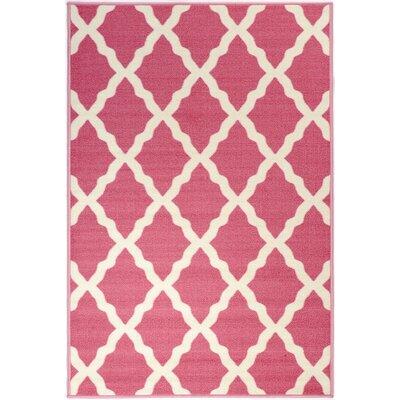 Pink Contemporary Moroccan Trellis Area Rug Rug Size: 3 x 5