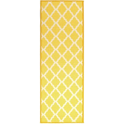 Pink Contemporary Yellow Moroccan Trellis Area Rug Rug Size: 18 x 411