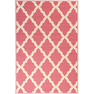 Glamour Machine Woven Pink Area Rug