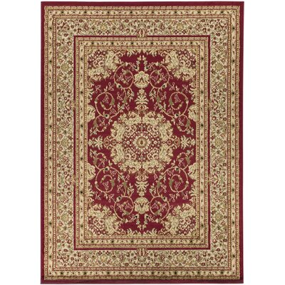 Royal Red/Tan Medallion Area Rug Rug Size: 53 x 7