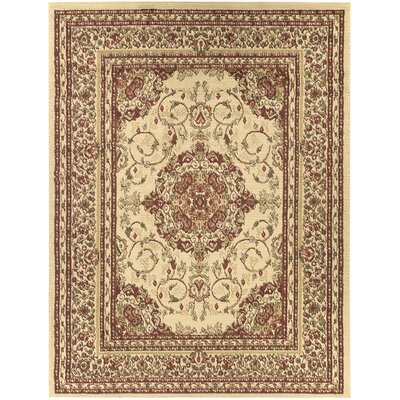 Royal Beige Medallion Area Rug Rug Size: 5'3