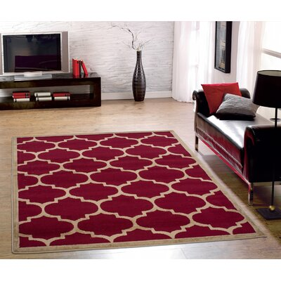 Paterson Contemporary Moroccan Trellis Design Dark Red Area Rug Rug Size: 5 x 7