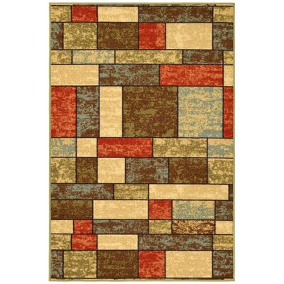 Galesburg Brown/Red Area Rug Rug Size: Rectangle 27 W x 41 L