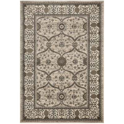 Regal Traditional European Beige Area Rug Rug Size: 53 x 77