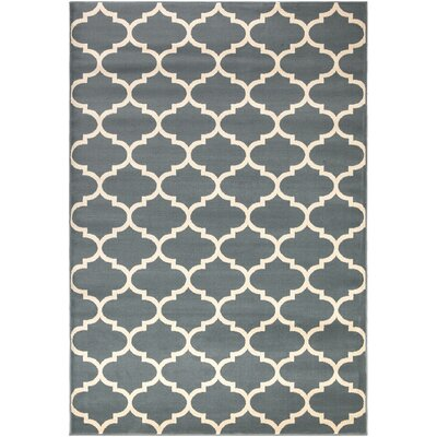 Regal Contemporary Moroccan Trellis Blue Area Rug Rug Size: 53 x 77