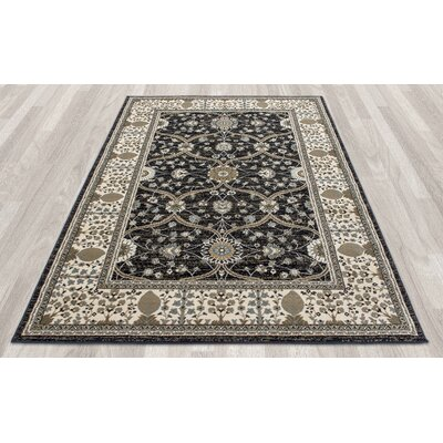 Regal Traditional European Black Area Rug Rug Size: 53 x 77
