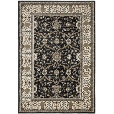 Regal Traditional European Black Area Rug Rug Size: 710 x 106