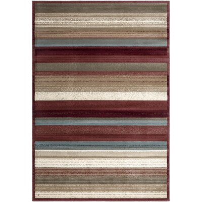 Regal Contemporary Striped Area Rug Rug Size: 53 x 77