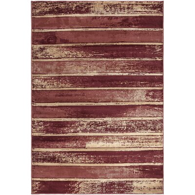 Regal Contemporary Abstract Red Area Rug Rug Size: 53 x 77