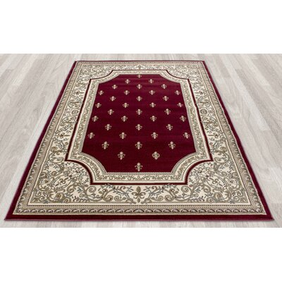 Regal Traditional European Red Area Rug Rug Size: 53 x 77