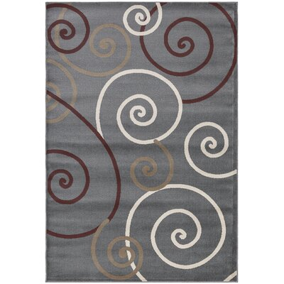 Regal Contemporary Scrolls Grey Area Rug Rug Size: 53 x 77