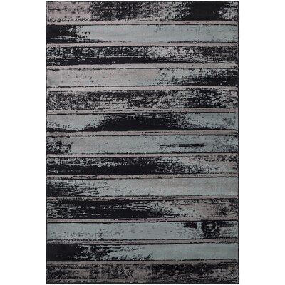 Regal Contemporary Abstract Blue/Grey Area Rug Rug Size: 53 x 77