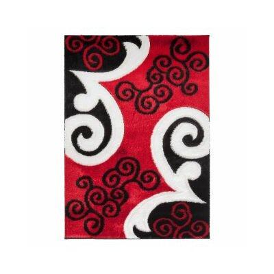 Casa Regina Modern Scrolls Design Red/Black Area Rug Rug Size: 710 x 910