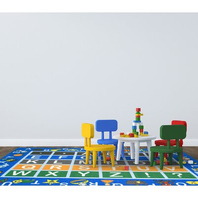 Childrens Educational Blue Area Rug Rug Size: Rectangle 82 x 910