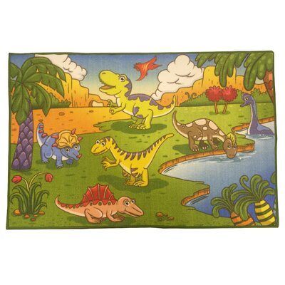 Animal Print Dinosaurs Green Area Rug Rug Size: 82 x 910