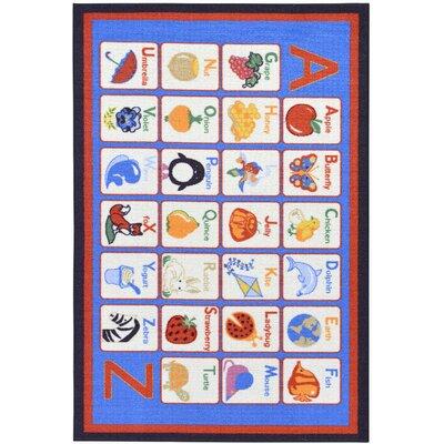 Childrens Alphabet Blue Area Rug Rug Size: 5 x 66