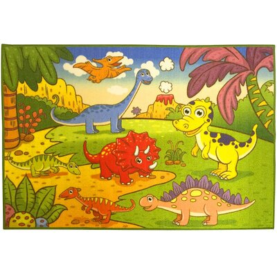 Childrens Dinosaurs Green Area Rug Rug Size: 33 x 5