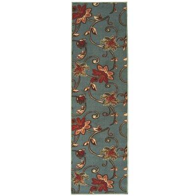 Bunyard Floral Design Sage Blue Area Rug Rug Size: Runner 18 x 411