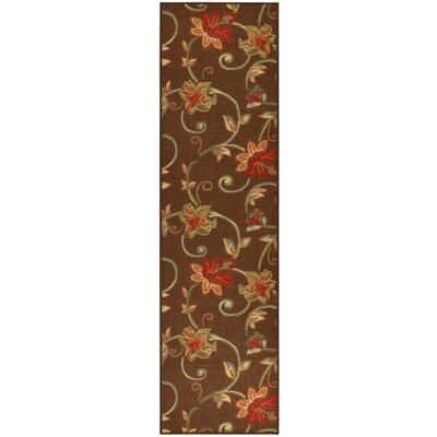 Bunyard Floral Garden Design Chocolate Area Rug Rug Size: Runner 2 x 7
