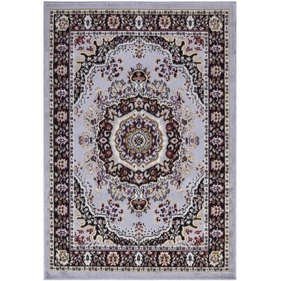 Paterson Traditional Oriental Design Greyish Blue Area Rug Rug Size: 5 x 7
