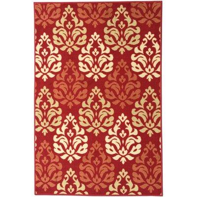 Ryan Damask Design Dark Red Area Rug Rug Size: 3 x 5