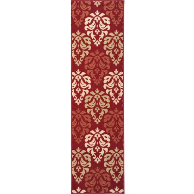 Ryan Damask Design Dark Red Area Rug Rug Size: Runner 18 x 411