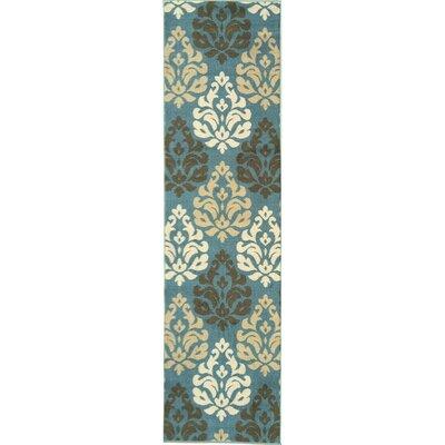Ryan Damask Design Sage Blue Area Rug Rug Size: Runner 18 x 411