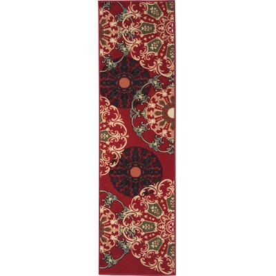 Galesburg Oriental Design Dark Red Area Rug Rug Size: Runner 2 x 7
