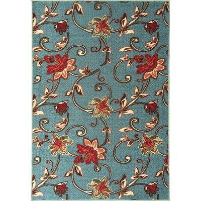 Bunyard Floral Design Sage Blue Area Rug Rug Size: 3 x 5