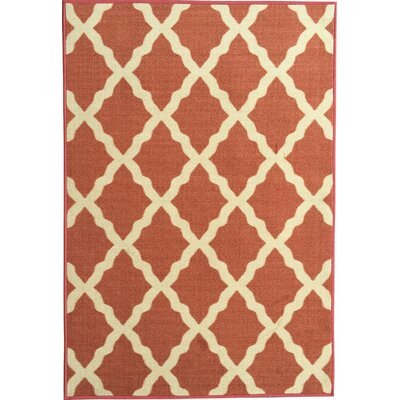 Bunyard Moroccan Trellis Design Orange Area Rug Rug Size: 3 x 5