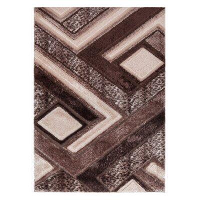 Casa Regina Modern Boxes Design Brown/Beige Area Rug Rug Size: 710 x 910