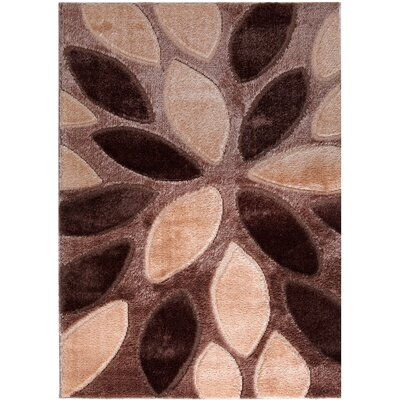Casa Regina Modern Abstract Design Moca/Brown Area Rug Rug Size: 53 x 73