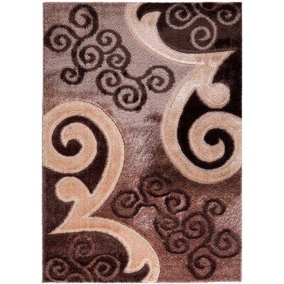 Casa Regina Modern Scrolls Design Brown/Beige Area Rug Rug Size: 53 x 73