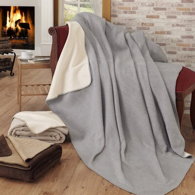 Soft Cozy Fleece Blanket Color: Gray / Ivory