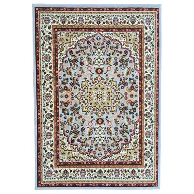 Paterson Traditional Medallion Design Grayish Blue Area Rug Rug Size: 5 x 7
