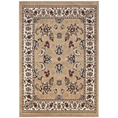 Paterson Floral Oriental Design Beige Area Rug Rug Size: 5 x 7