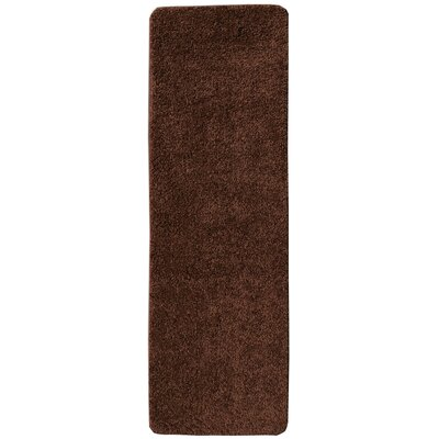 Soft Solid Non Slip Shag Carpet Brown Stair Tread Quantity: Set of 14