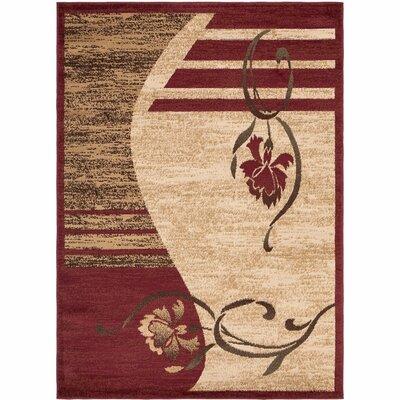 Royal Dark Red & Beige Floral Area Rug Rug Size: 53 x 7