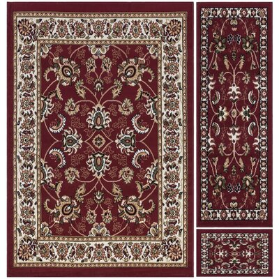 Paterson 3 Piece Dark Red Area Rug Set