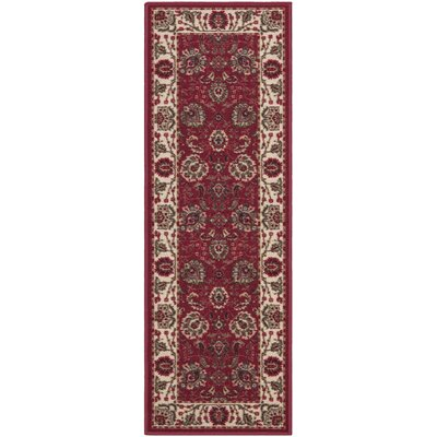 Ryan Dark Red Floral Indoor/Outdoor Area Rug Rug Size: Runner 110 x 7