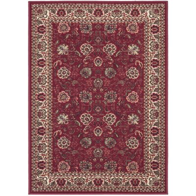 Ryan Dark Red Floral Indoor/Outdoor Area Rug Rug Size: 33 x 5