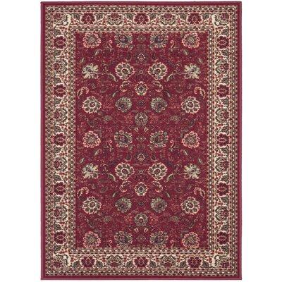 Ryan Dark Red Floral Indoor/Outdoor Area Rug Rug Size: 5 x 66